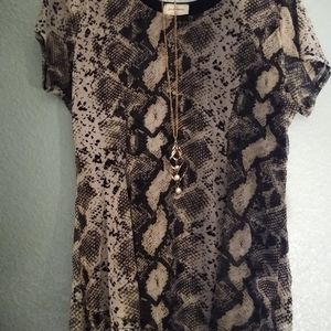 Snake print blouse with necklace